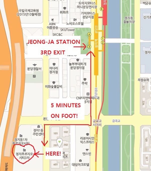 After you stand at the 3rd exit of Jeongja station, Go straight one long block and turn right, then go straight one block and turn left. You will see the main entrance.