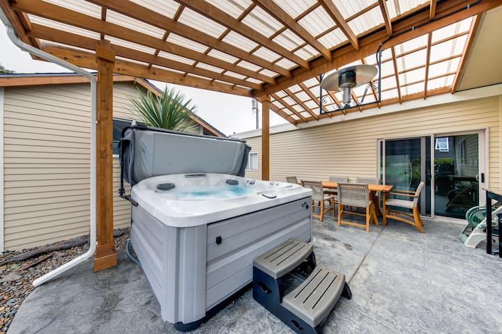 Dog-friendly home near the beach w/ private hot tub, patio & grill!