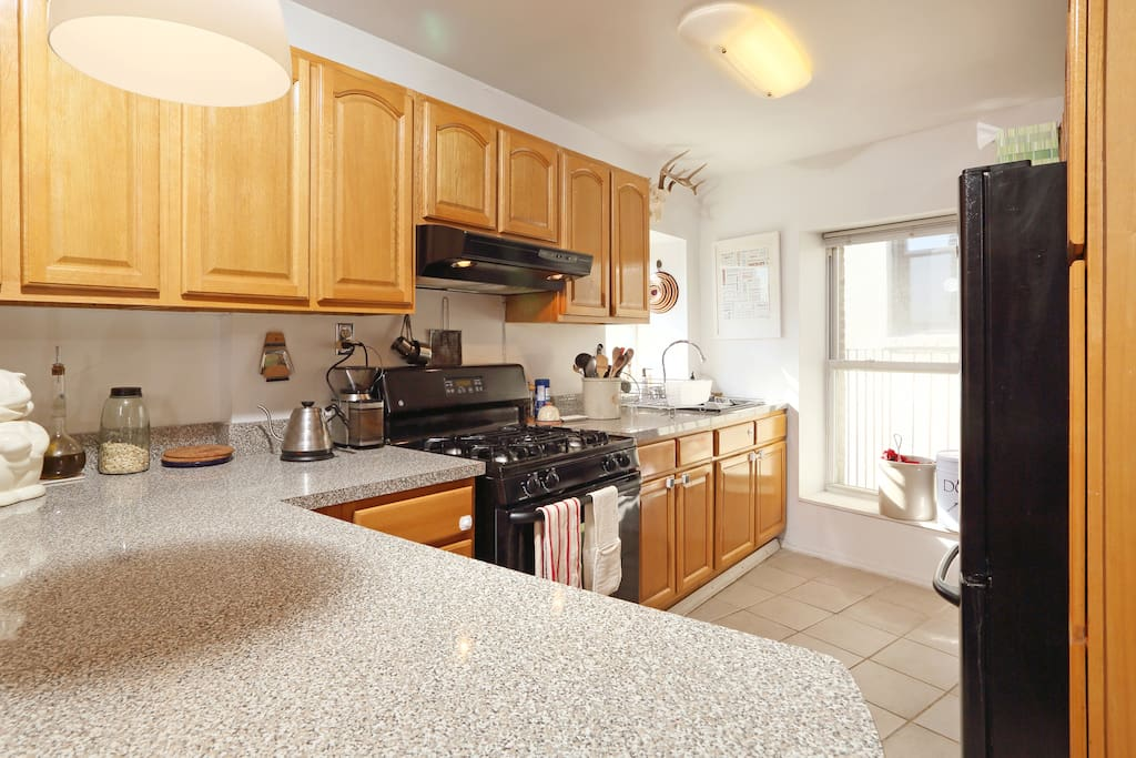 Large kitchen lets you enjoy a meal or two.