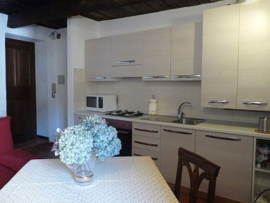 Kitchen/diner/living room. Kitchen with 4 burner hob, microwave, oven, dishwasher, fridge freezer
