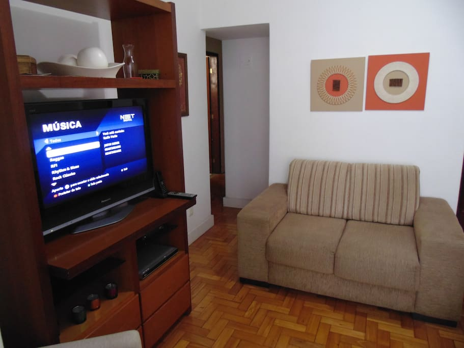 Living 02 place sofa and LCD TV with premium channels