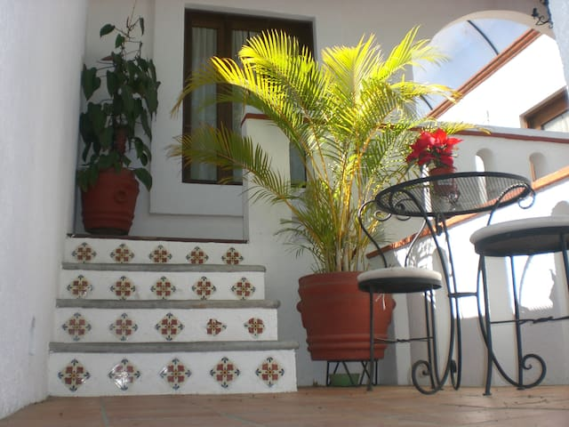 stairs with mexican tile made by hand
