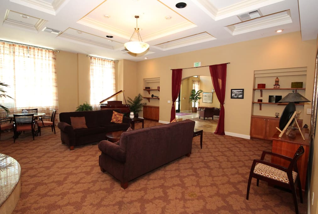 Lounge and entranceway, open to all guests