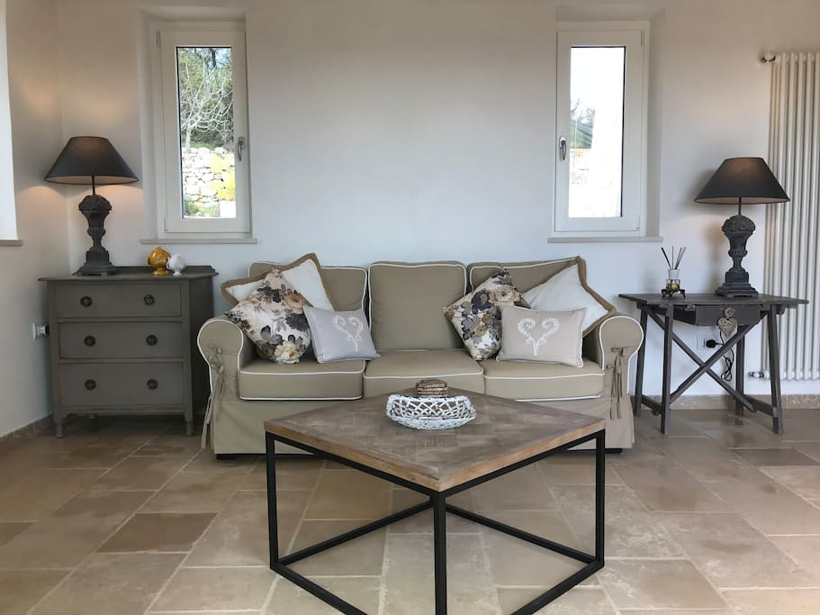 Trullo Falco - Luxury assured throughout with interior designed soft furnishings and sympathetic colour palettes in greys and whites running throughout.