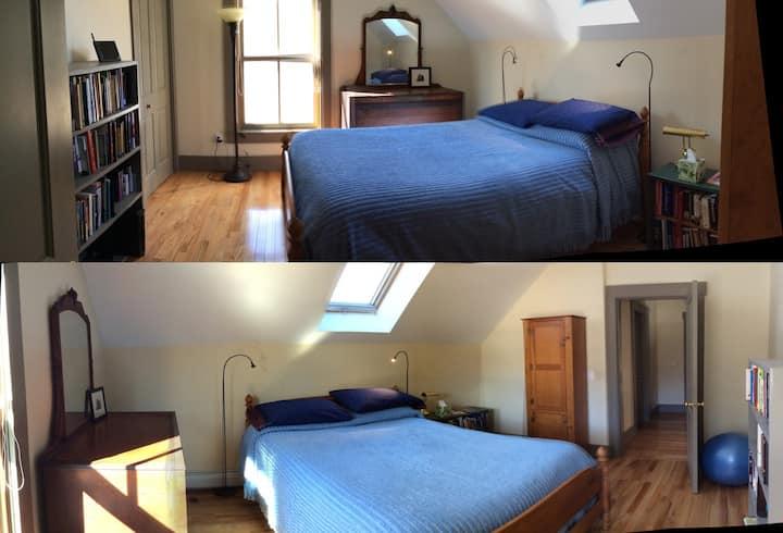 Cozy upstairs room with skylight
