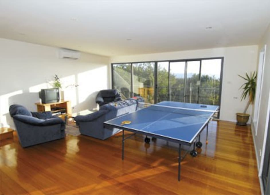 Spacious living areas with table tennis