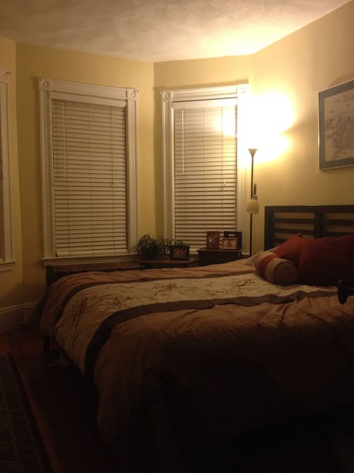 Comfortable king sized bed.  Large room