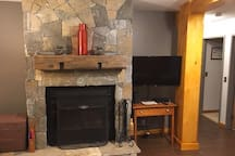 Local Granite Stone Fireplace