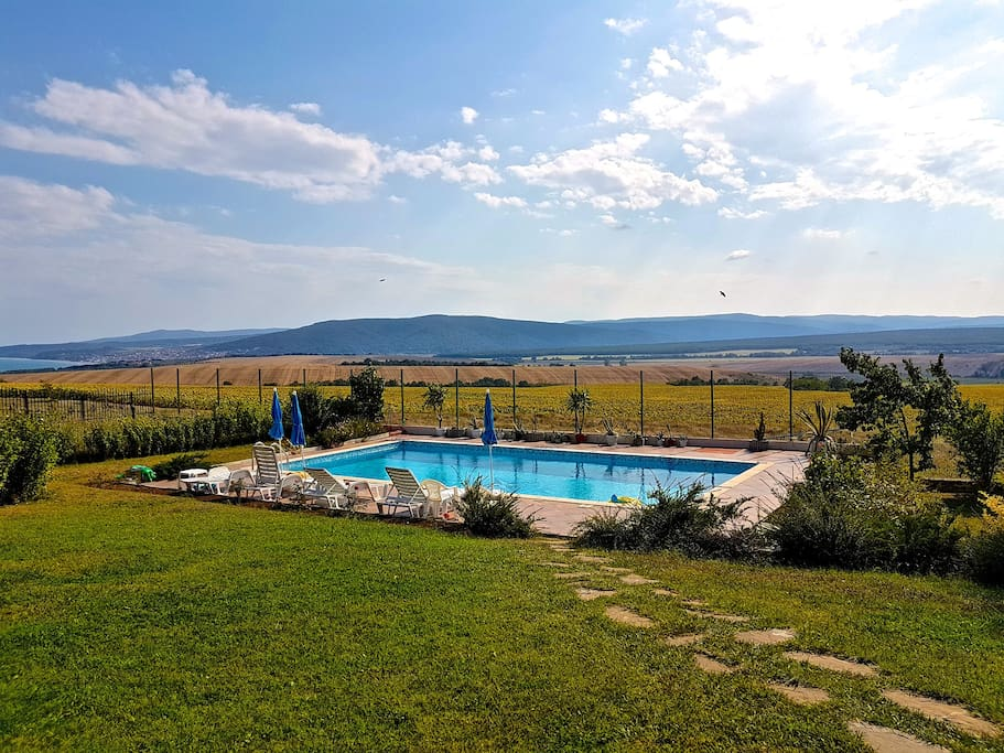 View of the pool and the valley