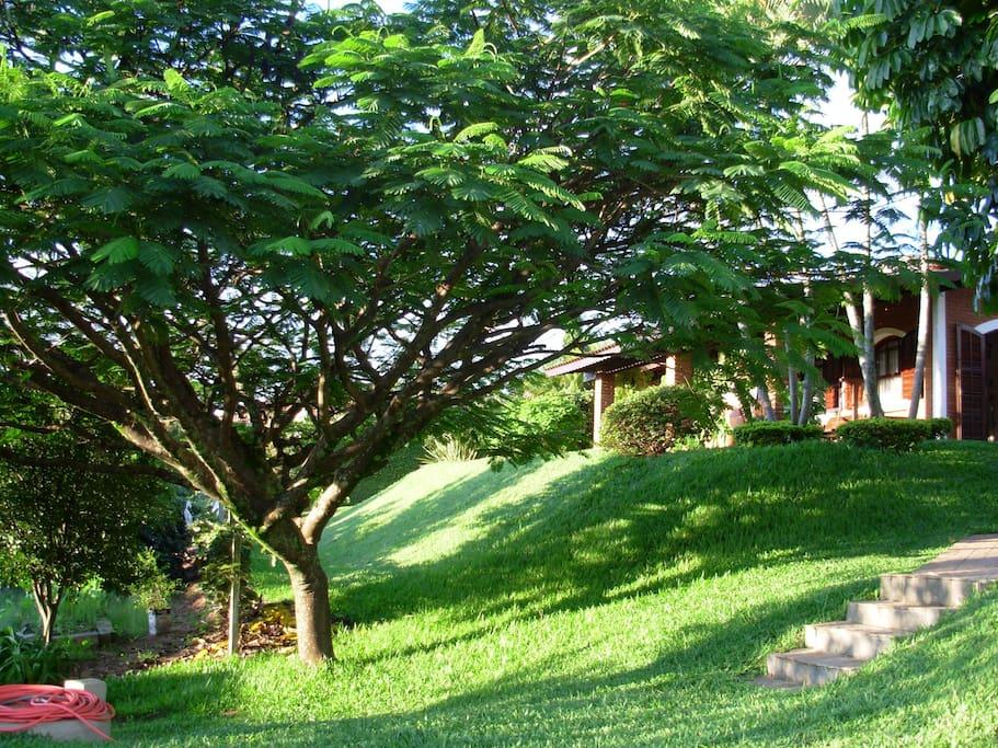 Vista da casa a partir  do gramado