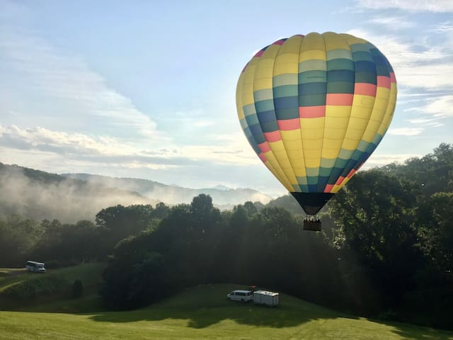 Hot air balloons. Quiet country. Peaceful place.