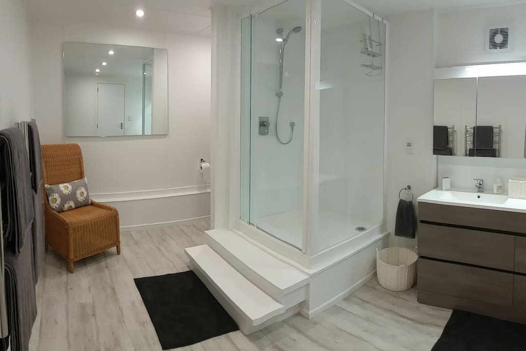 A large luxurious bathroom with separate toilet