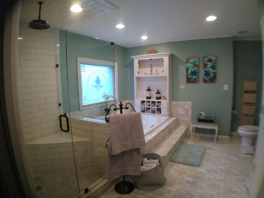 Extra large, glass enclosed walk-in shower and jacuzzi garden tub.