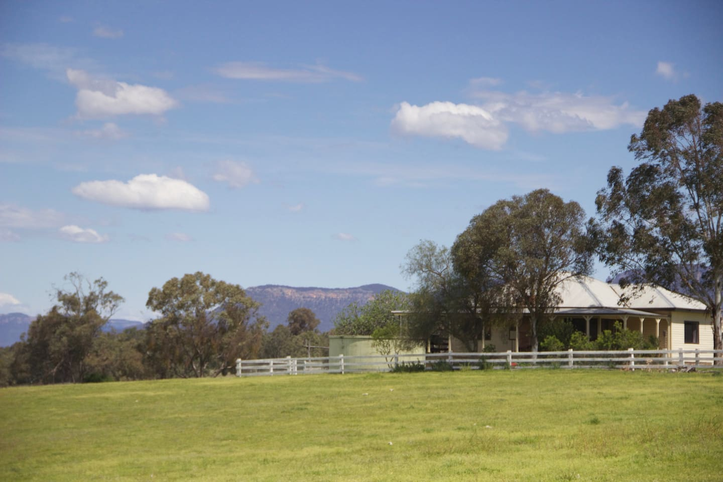 The house is set back about 100 metres from the front gate. There are lovely views from the verandas.