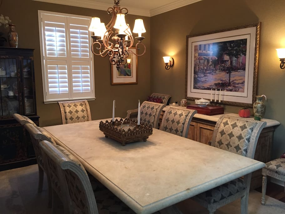 Formal dining room with gorgeous stone top table and searing for 10.