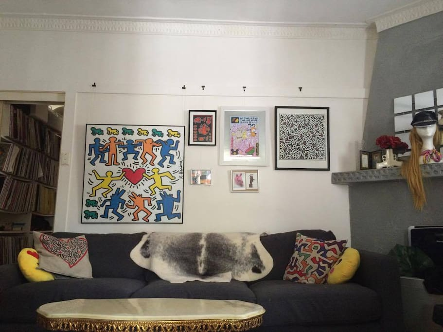 Funky lounge room with a super comfortable couch, TV, surround sound entertainment. Thousands of DVD's, documentaries and other movies to enjoy.