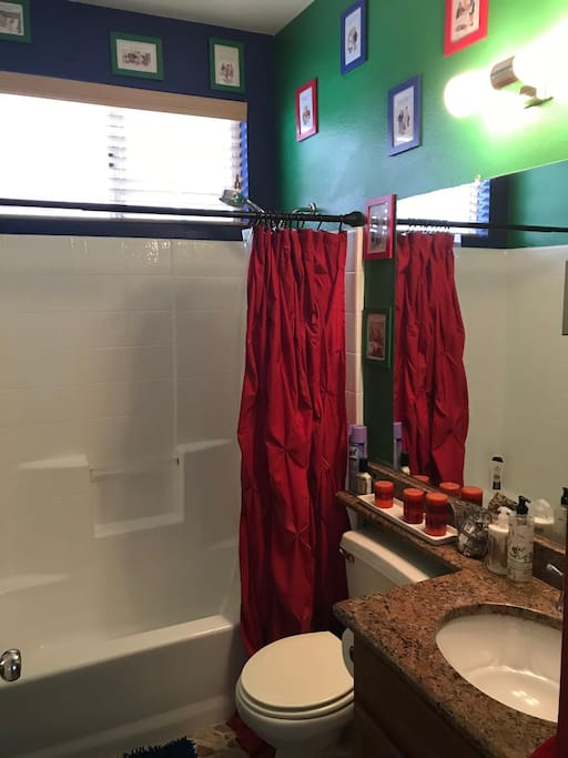 Private bathroom. Tub, shower, sink and toilet.