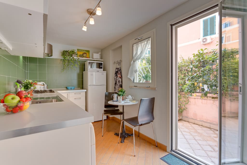 Spacious separated kitchen fully equipped adjacent to terrace Do you smell the orange flower?