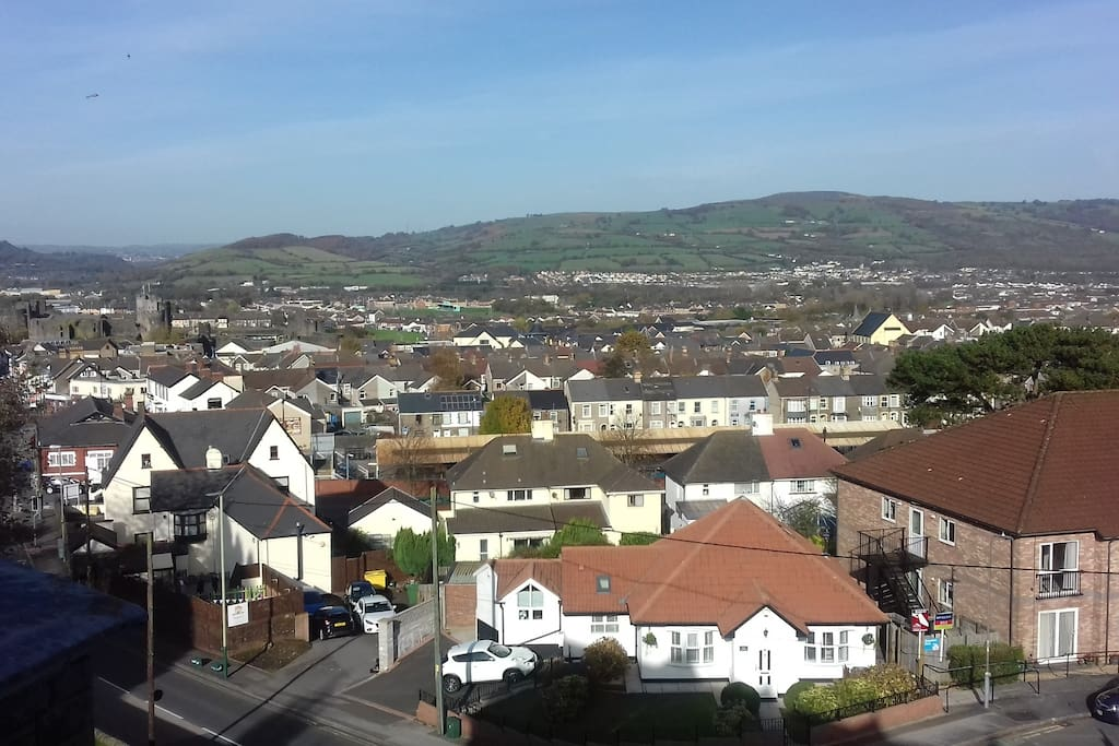 The view from third-storey bedroom  Caerphilly town centre the castle and railway station  all nearby