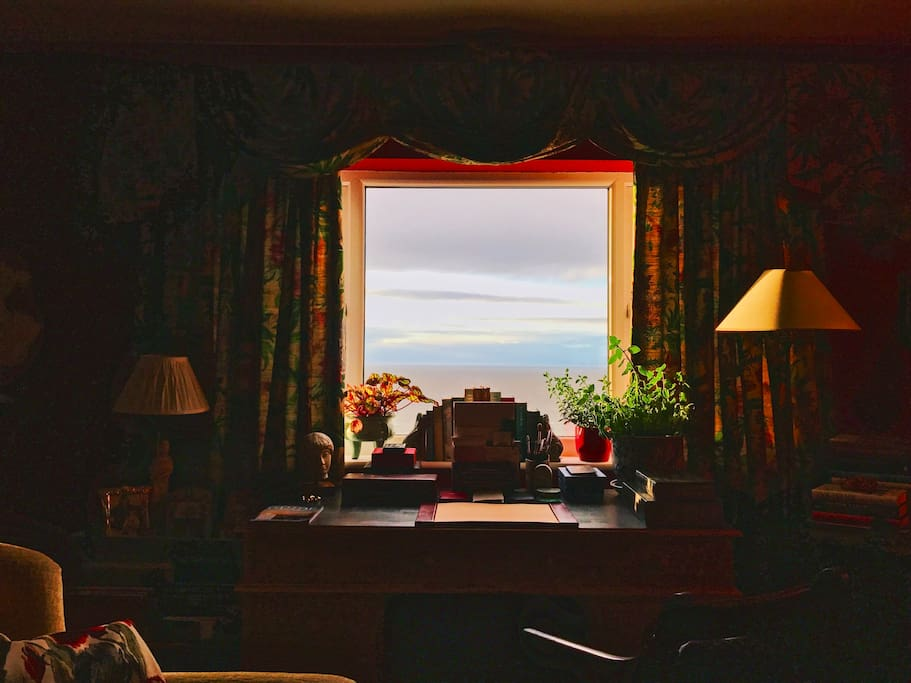A twilight view over the Irish Sea,from the guest's sitting room.
