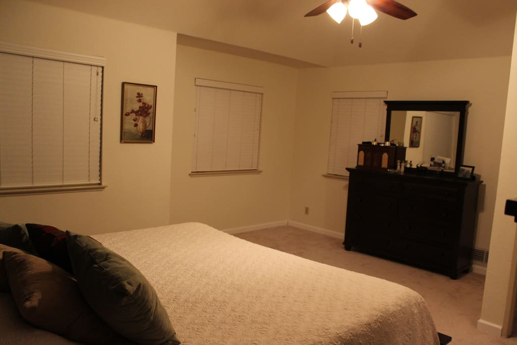 Master bedroom features a very comfortable memory foam mattress