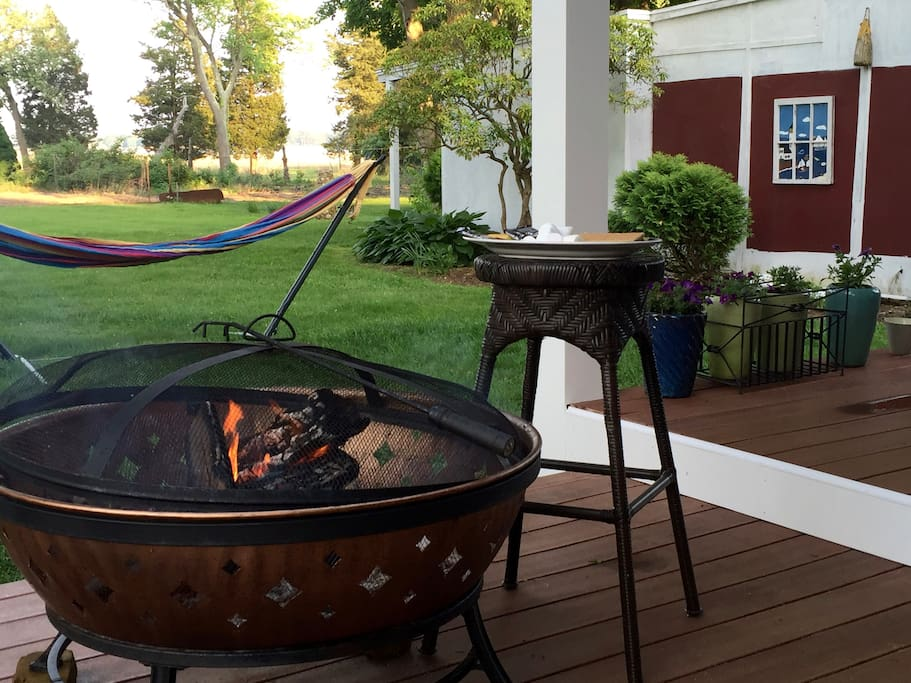 Fire pit on Back Deck.  Enjoy a smore!
