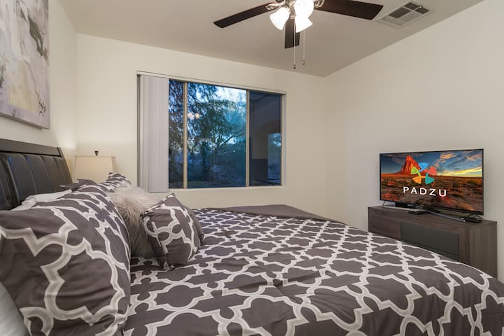 The unit is also equipped with LED screen TVs in Living room, master bedroom and guest bedroom.