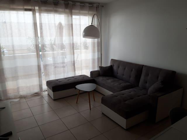 Salon, canapé lit pour 2 personnes, donnant sur une grande terrasse.