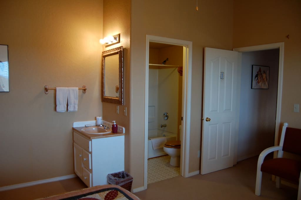 Every room has this private bath set up!