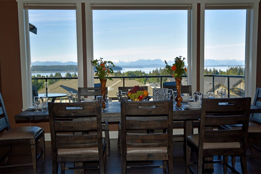 8 seat dining table with view outside