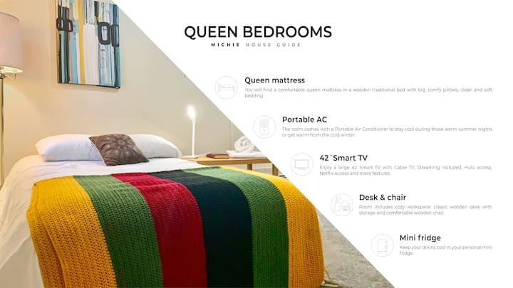Queen Bedroom ⭐️Michie House⭐️ long-term Discount
