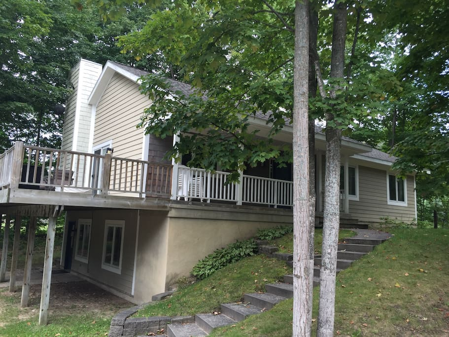 Spacious deck to enjoy, there is an outdoor fire pit and a Weber grill for you to use.