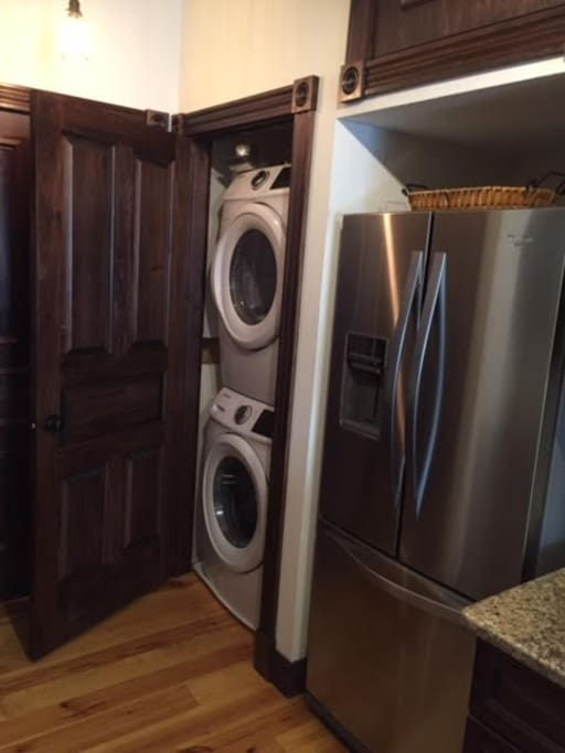 New washer and dryer for your convenience! Large stainless steel fridge!