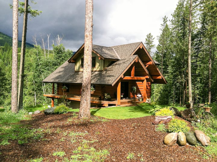 Glacier Log Home with Private River Access