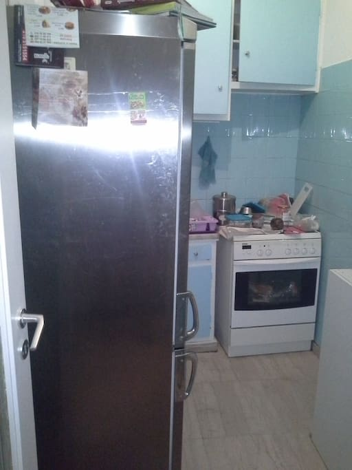 Kitchen with big refrigerator