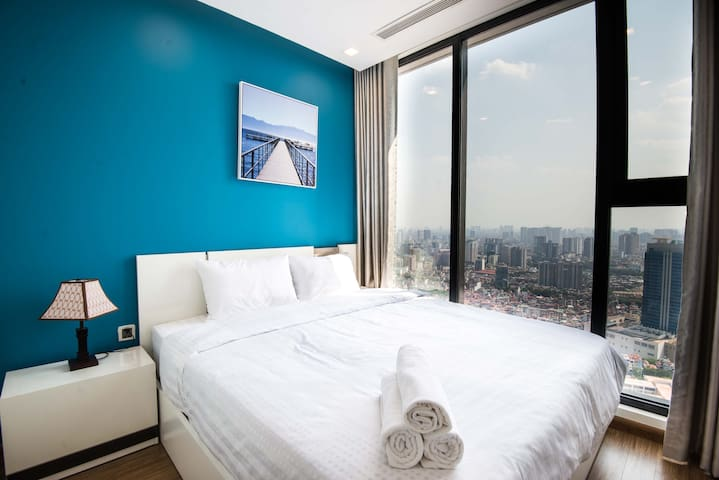 First bedroom with the most beautiful view in Hanoi. King size bed and premium everon brand mattress