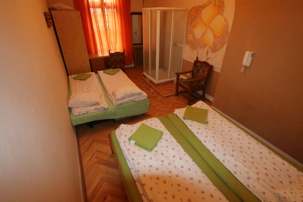 Your bedroom 1PL3 with 4 beds, writing table +chair ,wardrobe, prepared for 4, own shower box
