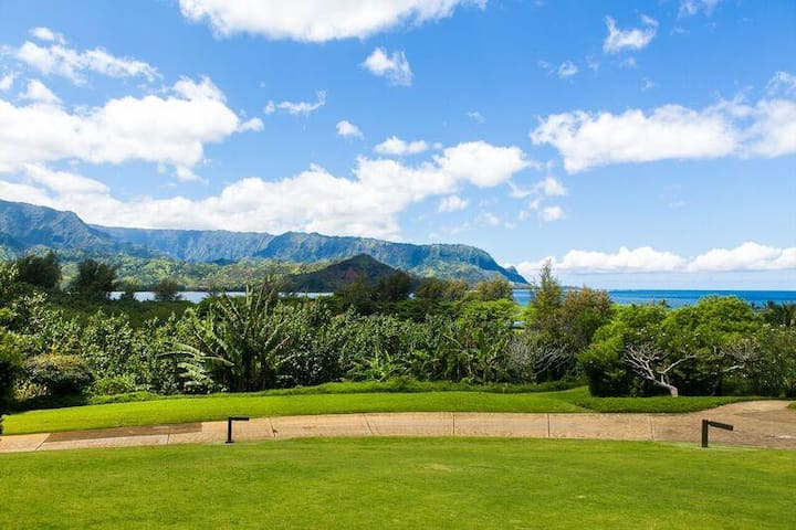 Sweet Hanalei Bay view condo walk to beach