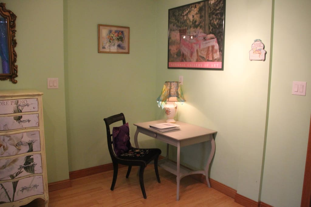 Catch up on your correspondence at the cozy corner desk.