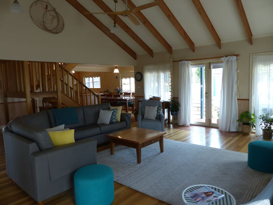 The downstairs lounge is light and airy.