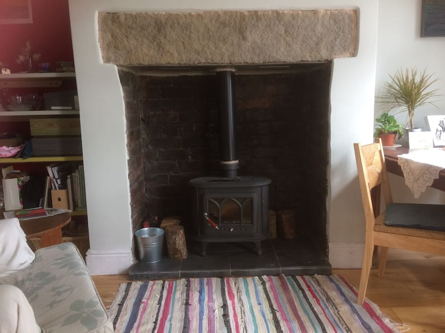 Wood-burner in Dining Room