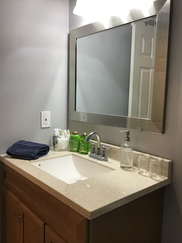 Private bathroom with shampoo, conditioner, hair dryer, soap, lotion, emergency tampons.