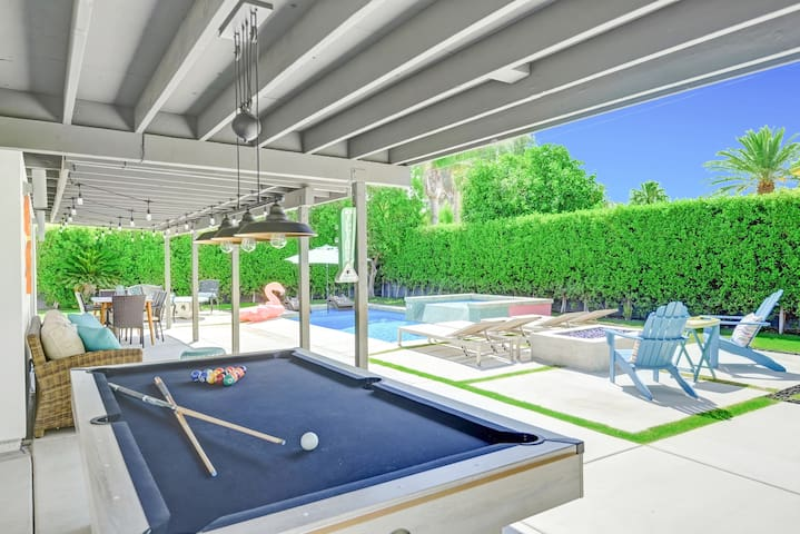 Play a round of billiards at the outdoor pool table.