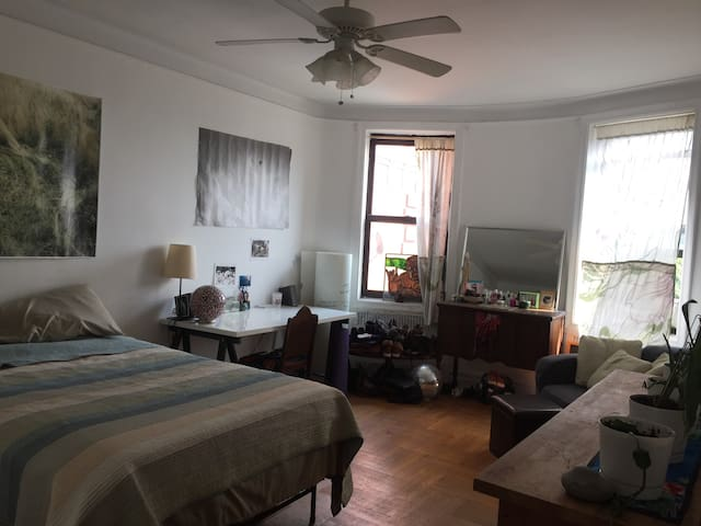 Large sunny room near park & trains