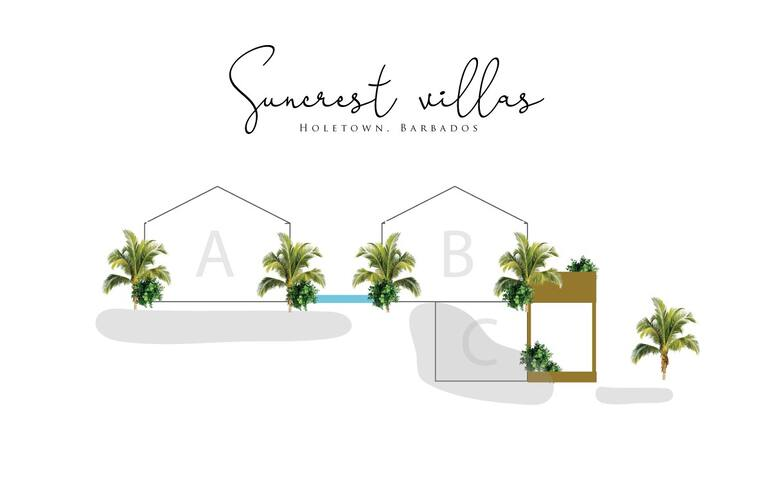 "Here's a layout of our three AirBnb rentals on the property to show you where villa ""B"" is situated.  These villas can also be rented together for larger families."