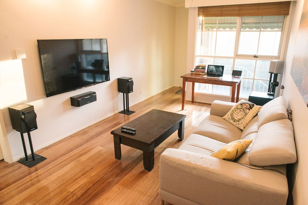 The home theatre system, 60inch TV, 5.1 dolby digital sound.