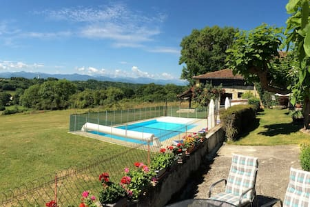 Idyllic Pyrenees gite panoramic mountain view pool