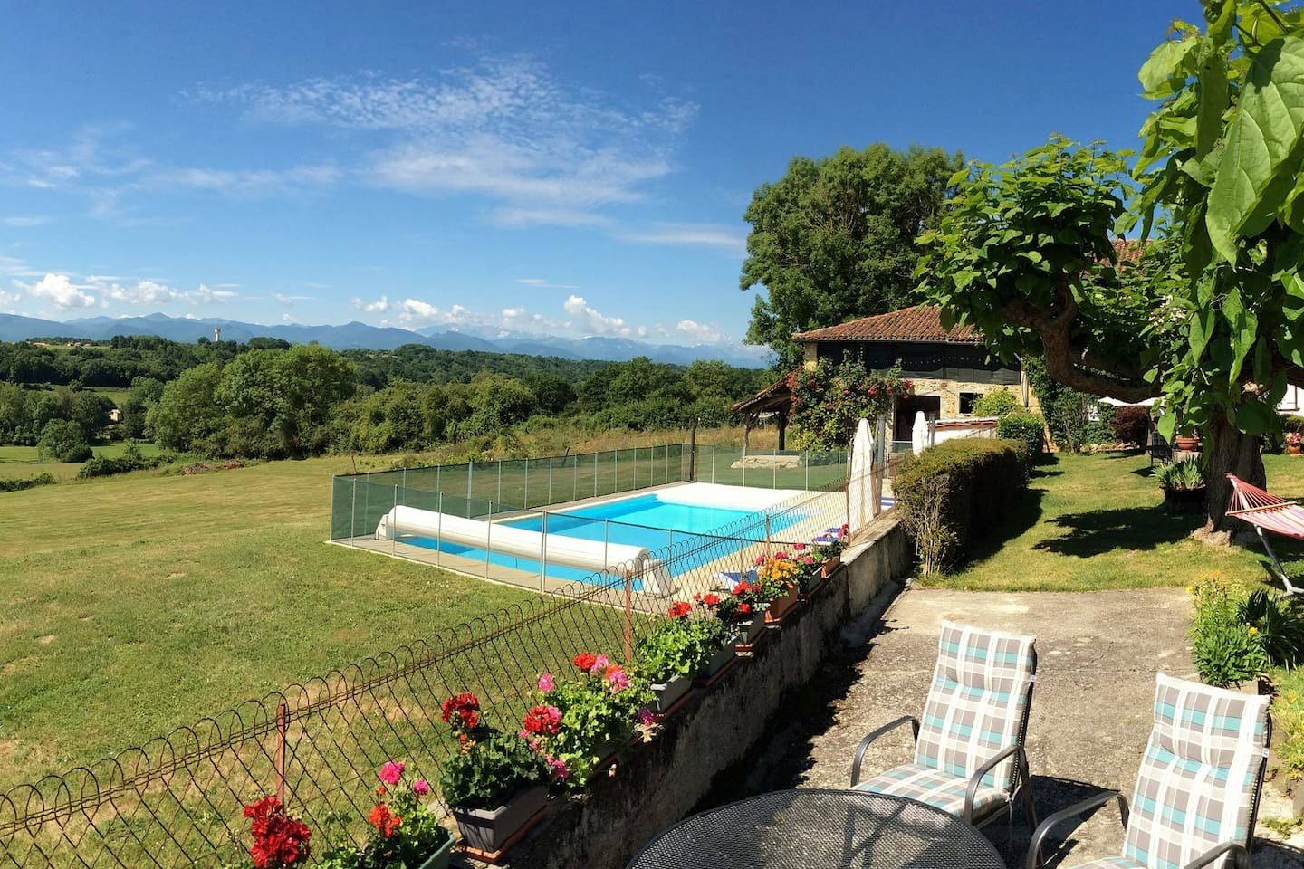 Enjoy the stunning panoramic views of the Pyrenees from your patio