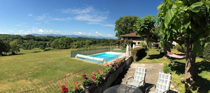 Idyllic Pyrenees gite panoramic mountain view pool