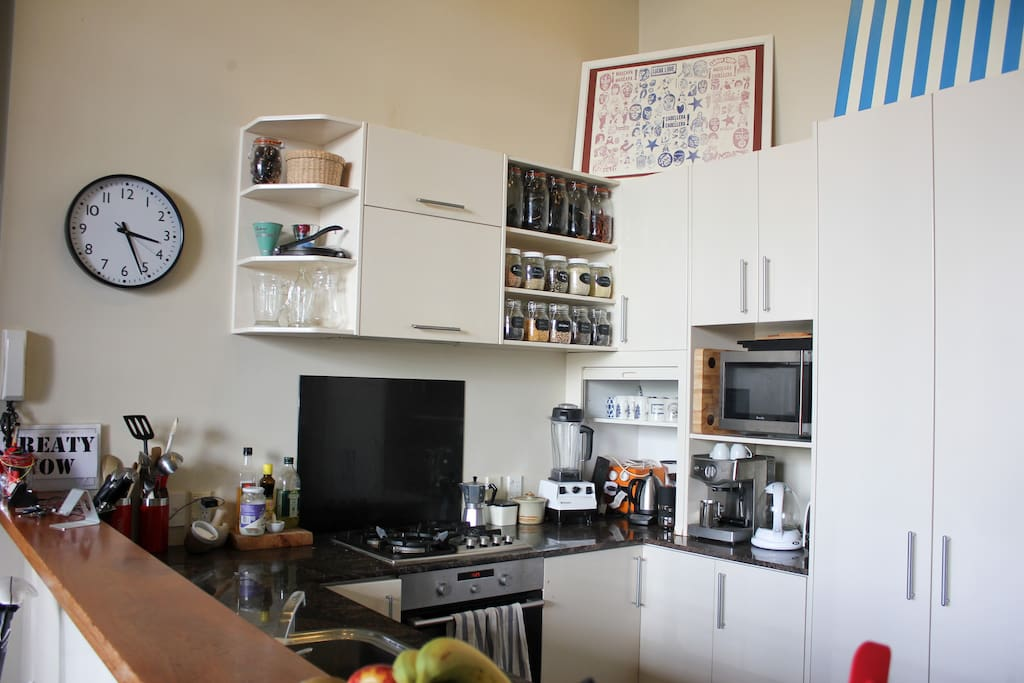 We have a full kitchen with a gas stove, high speed blender and multiple ways to brew coffee!